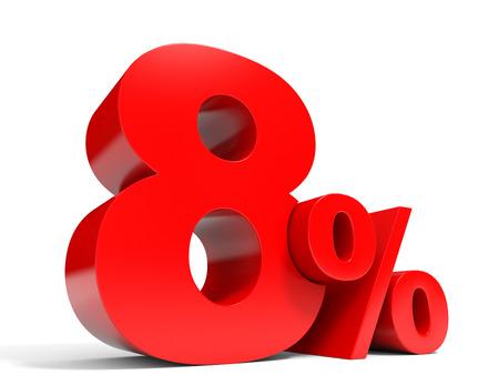 Red eight percent off. Discount 8%. 3D illustration. 版權商用圖片