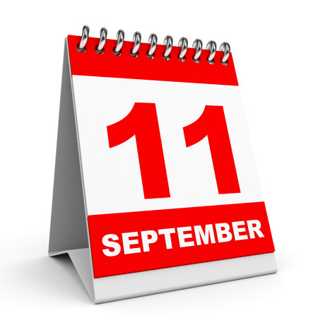 eleventh: Calendar on white background. 11 September. 3D illustration.
