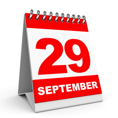 Calendar on white background. 29 September. 3D illustration.