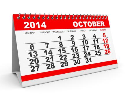 Calendar October 2014 on white background. 3D illustration. illustration
