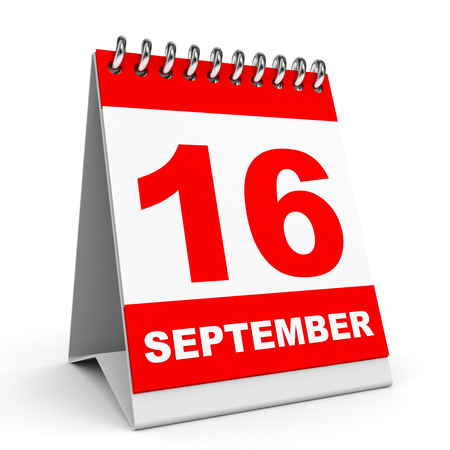 sixteenth note: Calendar on white background. 16 September. 3D illustration.
