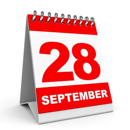 白い背景のカレンダーです。9 月 28 日。3 D イラスト。