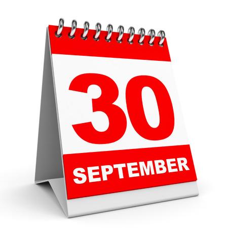 Calendar on white background. 30 September. 3D illustration.