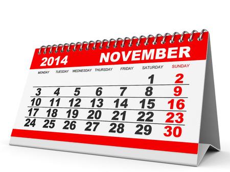 november 3d: Calendar November 2014 on white background. 3D illustration.