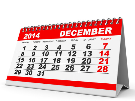 Calendar December 2014 on white background. 3D illustration. illustration