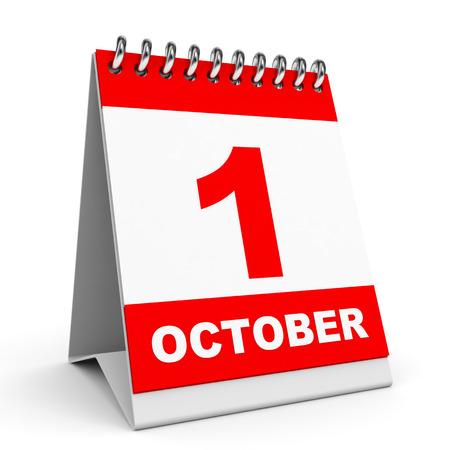 Calendar on white background. 1 October. 3D illustration.