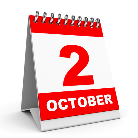 Calendar on white background.  2 October. 3D illustration. illustration