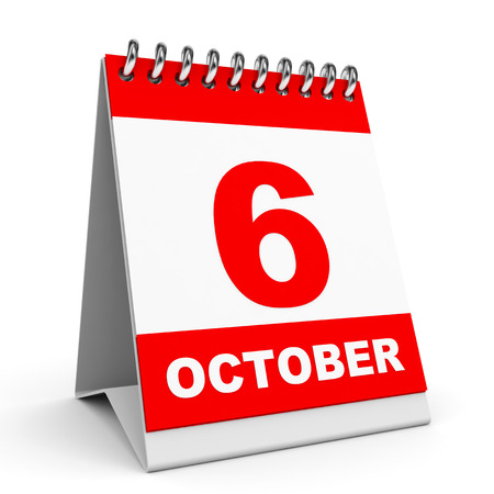 Calendar on white background. 6 October. 3D illustration.