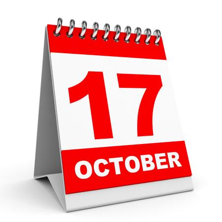 seventeenth: Calendar on white background. 17 October. 3D illustration.