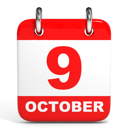 9th: Calendar on white background. 9 October. 3D illustration. Stock Photo