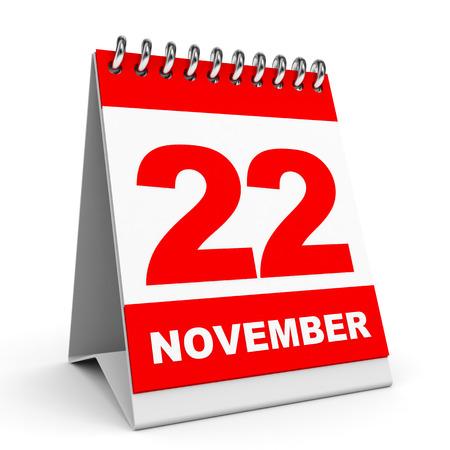 2 november: Calendar on white background. 22 November. 3D illustration.