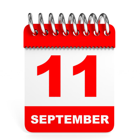 11 september: Calendario en el fondo blanco. 11 de septiembre. Ilustraci�n 3D.
