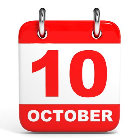 tenth: Calendar on white background. 10 October. 3D illustration.