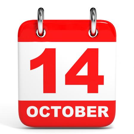 흰색 배경에 일정입니다. 10 월 14 일. 3D 그림입니다.