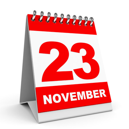 Calendar on white background. 23 November. 3D illustration. illustration