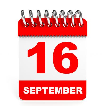 16 9: Calendar on white background. 16 September. 3D illustration.