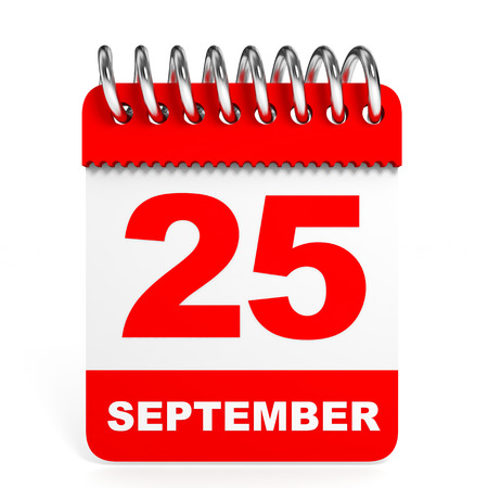 25th: Calendar on white background. 25 September. 3D illustration. Stock Photo