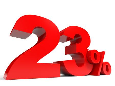 Red twenty three percent off. Discount 23%. 3D illustration.