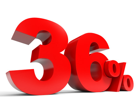 Red thirty six percent off. Discount 36%. 3D illustration.