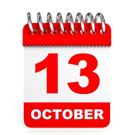 friday 13: Calendar on white background. 13 October. 3D illustration. Stock Photo