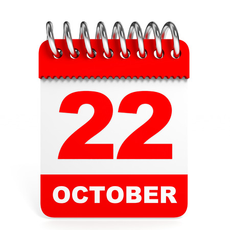 Calendar on white background. 22 October. 3D illustration. illustration