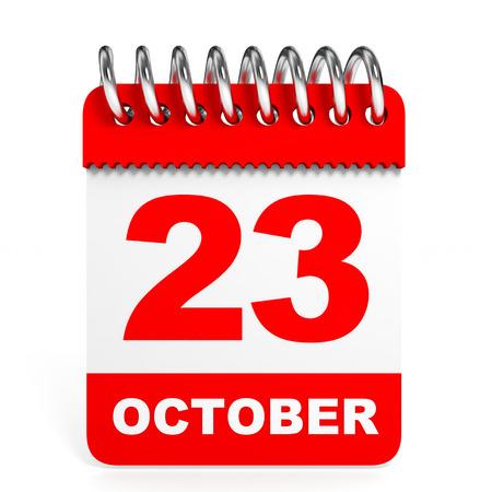 23: Calendar on white background. 23 October. 3D illustration. Stock Photo