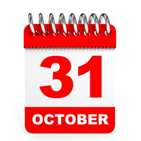 31th: Calendar on white background. 31 October. 3D illustration.