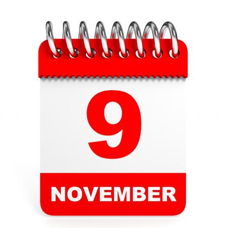 ninth: Calendar on white background. 9 November. 3D illustration. Stock Photo