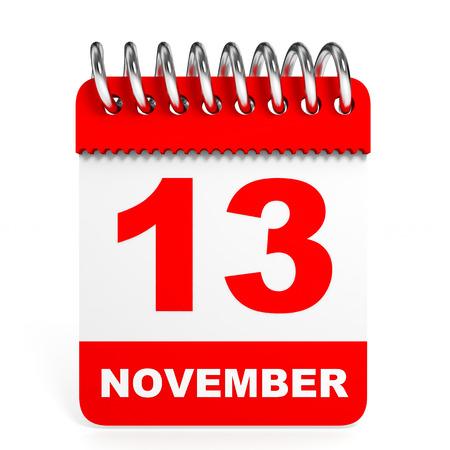 friday 13th: Calendar on white background. 13 November. 3D illustration.