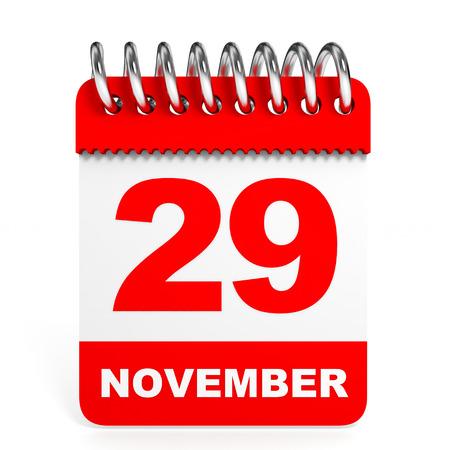 ninth: Calendar on white background. 29 November. 3D illustration.