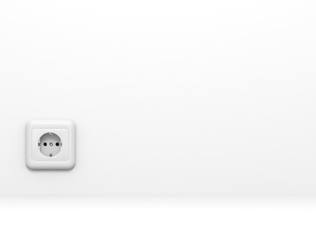 wall socket: White electric socket at the wall. 3D illustration.