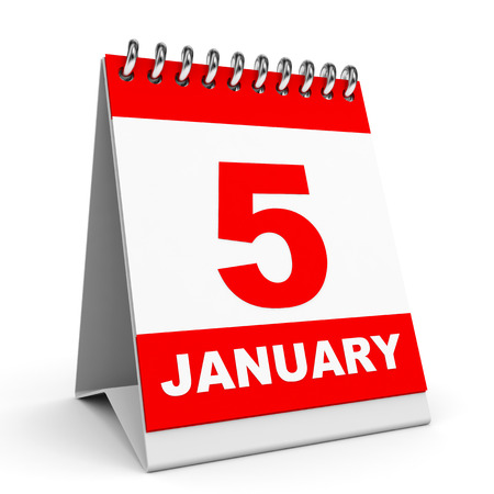 Calendar on white background. 5 January. 3D illustration. illustration