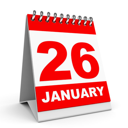 Calendar on white background. 26 January. 3D illustration. illustration
