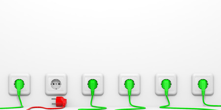 Plugs and sockets. 3D illustration. illustration