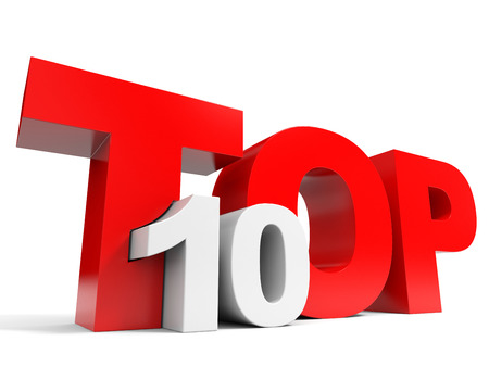 Top 10. Ten. 3D illustration.