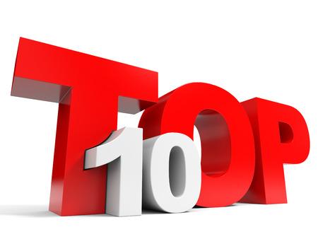 Top 10. Ten. 3D illustration.