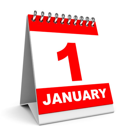 1 january: Calendar on white background. 1 January. 3D illustration.