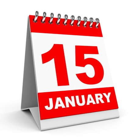 calendar page: Calendar on white background. 15 January. 3D illustration.