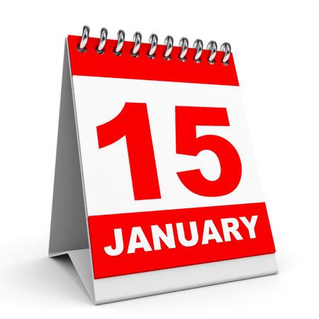 Calendar on white background. 15 January. 3D illustration.