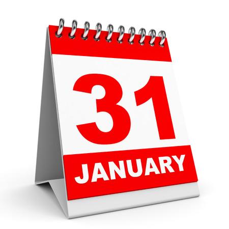 31th: Calendar on white background. 31 January. 3D illustration. Stock Photo