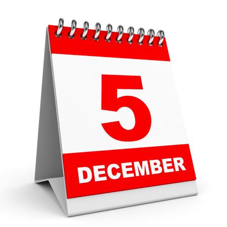 '5 december': Calendar on white background. 5 December. 3D illustration.