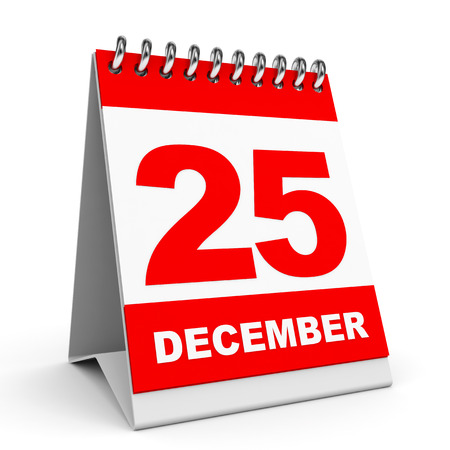 december 25th: Calendar on white background. 25 December. 3D illustration. Stock Photo