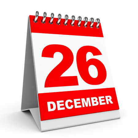 twenty six: Calendar on white background. 26 December. 3D illustration. Stock Photo