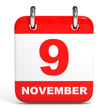 9th: Calendar on white background. 9 November. 3D illustration. Stock Photo