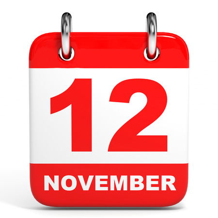 Calendar on white background. 12 November. 3D illustration. Reklamní fotografie