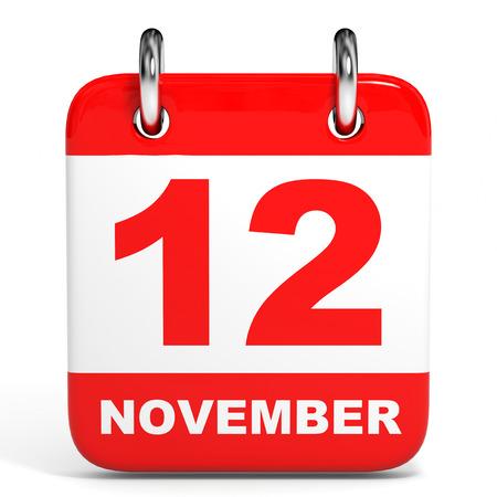 Calendar on white background. 12 November. 3D illustration. Stock Photo