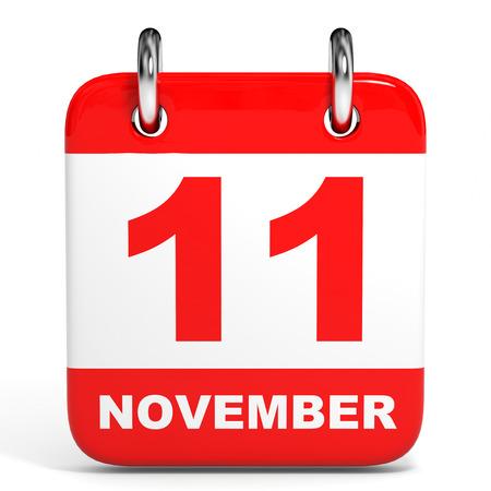 11th: Calendar on white background. 11 November. 3D illustration.