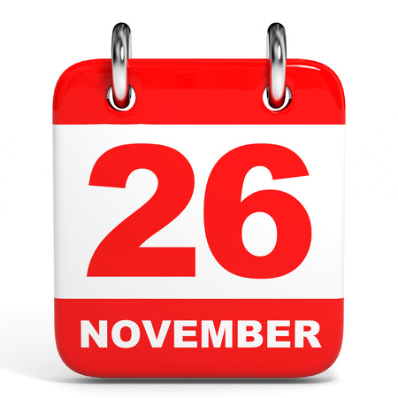 26th: Calendar on white background. 26 November. 3D illustration. Stock Photo