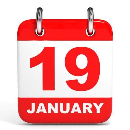 19: Calendar on white background. 19 January. 3D illustration. Stock Photo