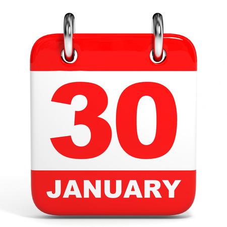 30: Calendar on white background. 30 January. 3D illustration. Stock Photo